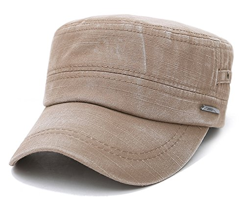 (ChezAbbey Men's Distressed Solid Brim Flat Top Cap Washed Cotton Cadet Style Hat Casual Peaked Cap Brown)