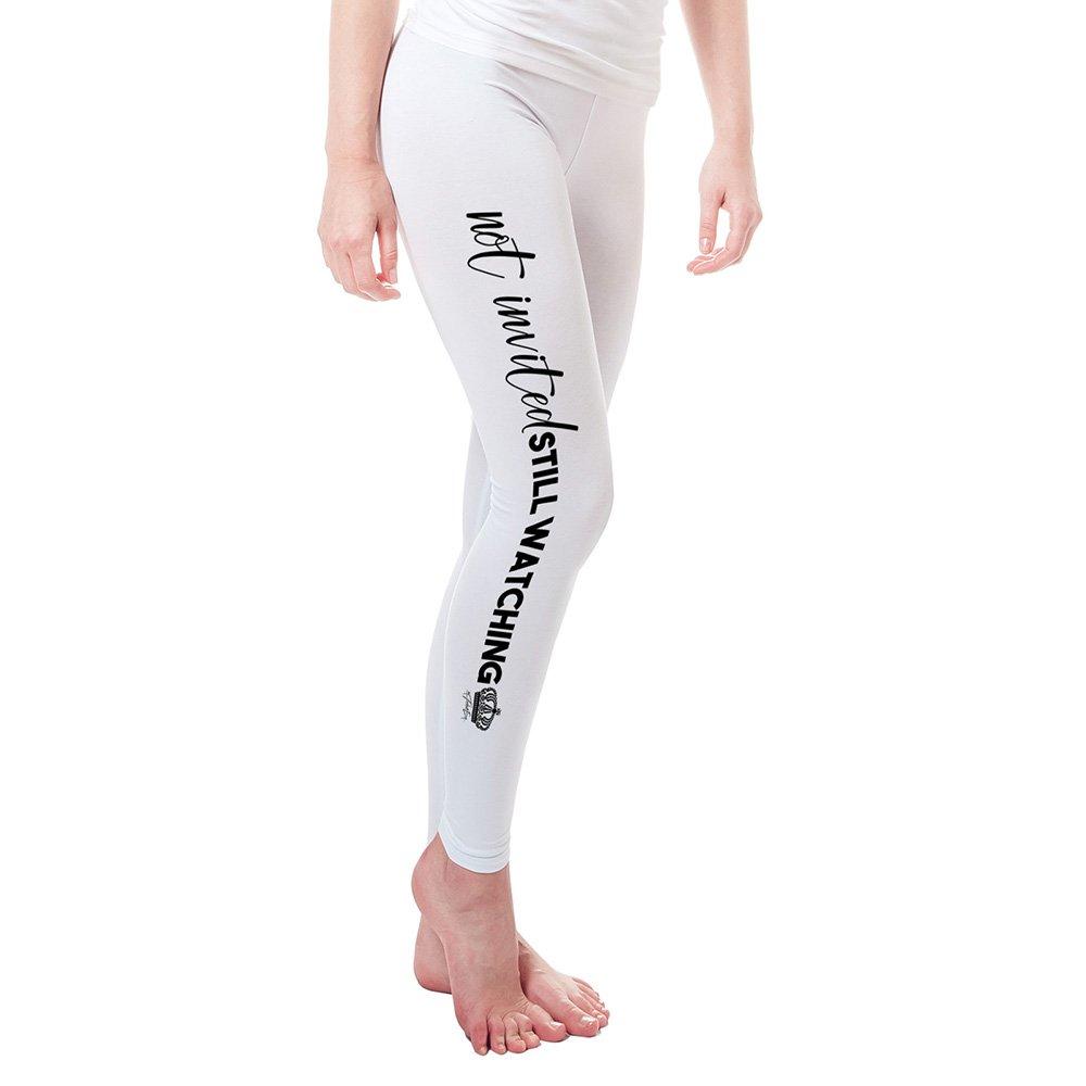 TWISTED ENVY Leggings for Women Royal Wedding Not Invited Still Watching Women's Leggings X-Large White