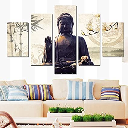 5 Panel Modern Printed Buddha Painting Picture Cuadros Decoracion Buda Paintings  Canvas Wall Art For Living