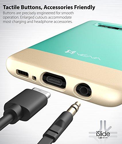 Funda para Galaxy S8 Plus, Vena Carcasa [iSlide][Dos tonos] Dock-Friendly Delgada cubierta de la caja dura para Samsung Galaxy S8+ / S8 Plus (Trullo / Dorado champagne) Trullo / Dorado champagne