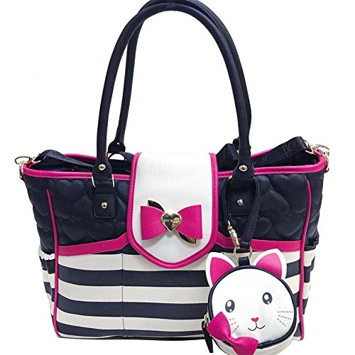 Betsey Johnson Flap Over Stripes Diaper Bag