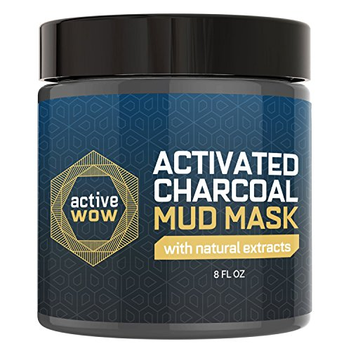 Active Wow Charcoal Mud Mask - Deep Pore Facial Cleanser & H