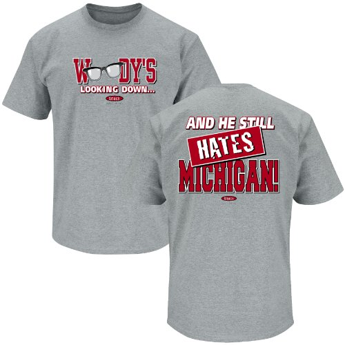 Ohio State Buckeyes Sideline Jersey (Ohio State Football Fans. Woody's Lookin' Down (Anti-Michigan) grey T Shirt (Small))