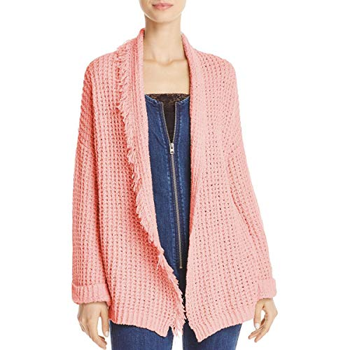 - Free People Womens Silk Fringe Trim Cardigan Sweater Red S