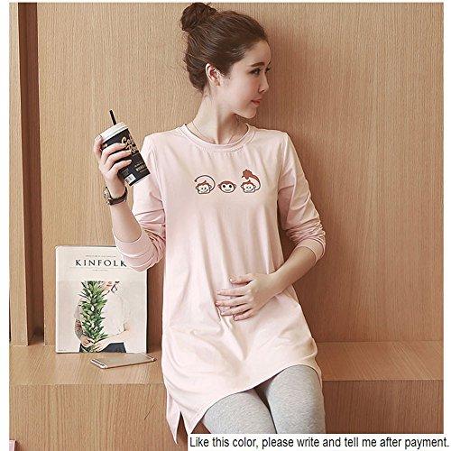HZFF La primavera y el otoño ropa de algodón puro, grasa, MM tide madre, mujeres embarazadas cargado con mucho la versión coreana, camiseta de manga larga: ...