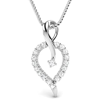 Valentine Gifts : Vijisan Valentine Day Gifts For Girlfriend 0.26 Cts  Locket Pendant For Women White