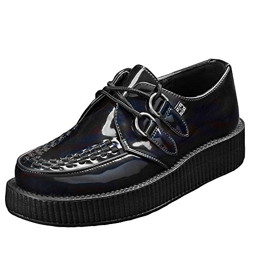 T.U.K. AV8990 Tuk Zapatos Negro Metallic Lucido Petrolio Unisex Creeper (41)