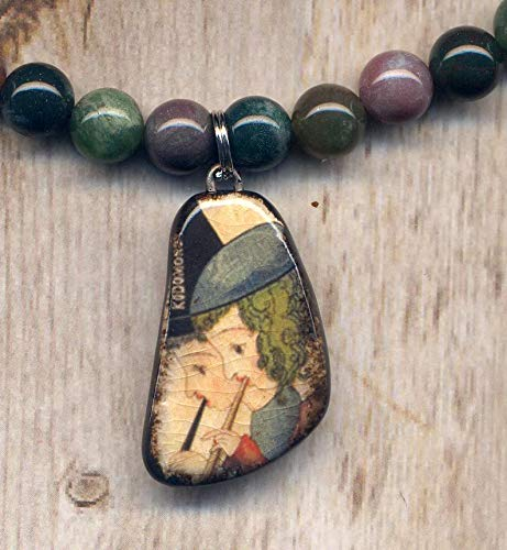 Ocean Jasper Necklace, China Porcelain Pendant, Music Pendant Necklace, Flute Players Porcelain Jewelry by AnnaArt72 ()