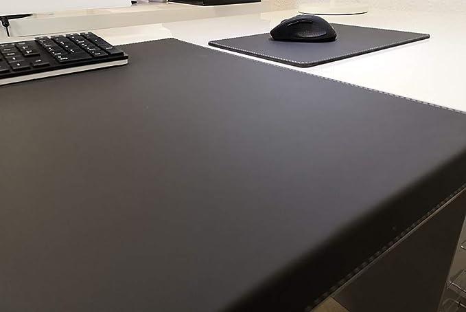 Gewinkelte Schreibtischunterlage Echt Leder 70 x 47 Schwarz Silbergraue Naht