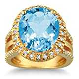 2heart 7.5 Carat oval Blue Topaz & Simulated Diamond Ring In 14K Yellow Gold Plated