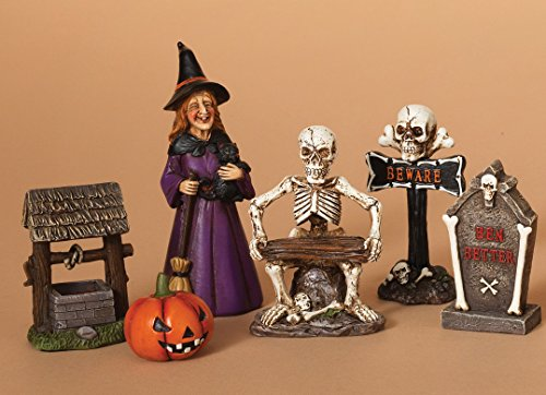 Set of 6 Colorful Halloween Characters with Gift Box - Standing Tabletop Halloween Decoration (Witch)