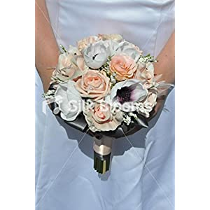 Elegant Fresh Touch Purple Centred White Anemone and Peach Rose Bridesmaid Bouquet with Heather and Feathers 20