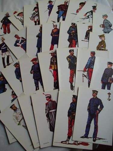 Colección de 25 postales Uniformes Militares - Collection 25 ...