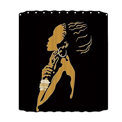 Awakingdemi Mujer Africana Print Anti Mildew baño Impermeable Cortina de baño Purdah (C