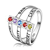 Quiges My Creation Silver Mothers Birthstone Custom Personalized Engraved Name Stacking Band Ring
