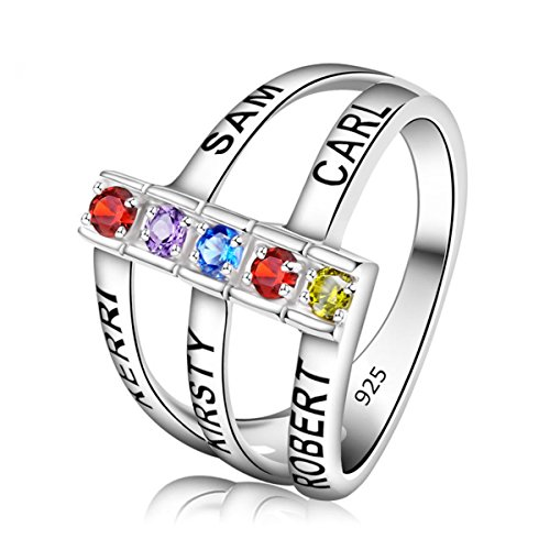 Quiges Silver Mother CZ Birthstone Personalized Engraved 5 Name Shank Stack Band Custom Ring 10.25