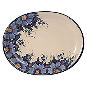 Traditional Polish Pottery, Handcrafted Oval Banquet Serving Platter 34cm, Boleslawiec Style Pattern, S.201.Passion