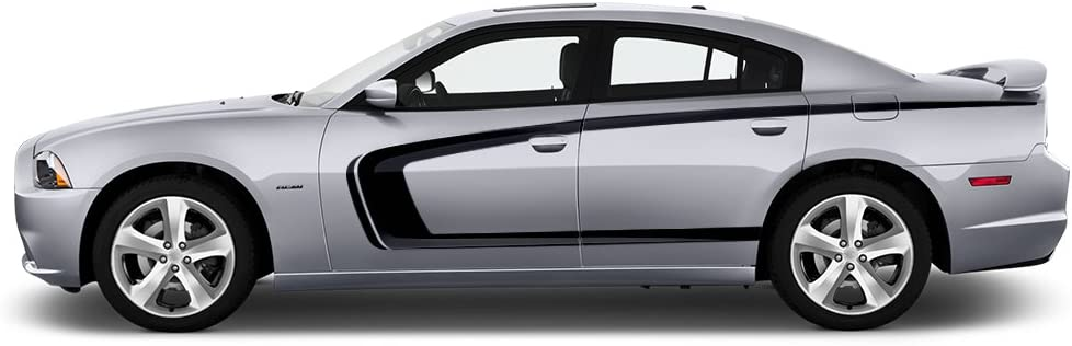 Matte Black Factory Crafts C-Stripe Side Graphics Kit Vinyl Decal Wrap Compatible with Dodge Charger 2011-2014
