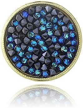 Gold Tone Bermuda Blue Crystal Rocks Ring Made with Swarovski Elements