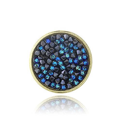 Gold Tone Bermuda Blue Crystal Rocks Ring Made with Swarovski Elements,Blue,SIZE 7 - Ring Crystal Bermuda