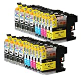 Ink & Toner 4 You 20PK 8 Black 4 Cyan 4 Magenta 4 Yellow Compatible Inkjet Cartridge for LC-101 LC-103 LC-103 XL LC-103BK, LC-103C, LC-103M, LC-103Y Compatible - 20 Pack Compatible Ink Cartridge