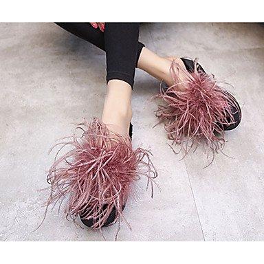 LvYuan Mujer-Tacón Robusto-Confort-Zapatillas y flip-flop-Informal-PU-Negro Rojo Black
