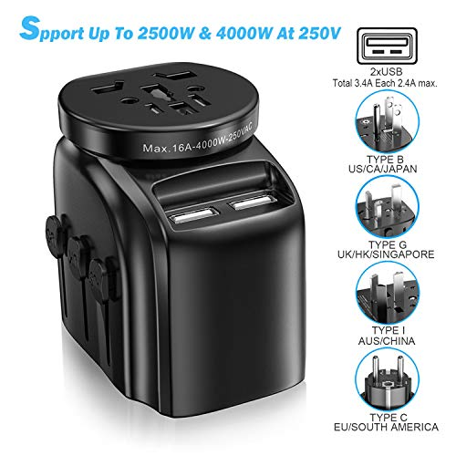 SAUNORCH Universal Travel Adapter Accessories, International Power Adapter W/ 3.4A Dual USB Smart Wall Charger, European Adapter Plugs Adapters for Hair Dryer, UK, EU, US CA,AU, Italy Asia -Black