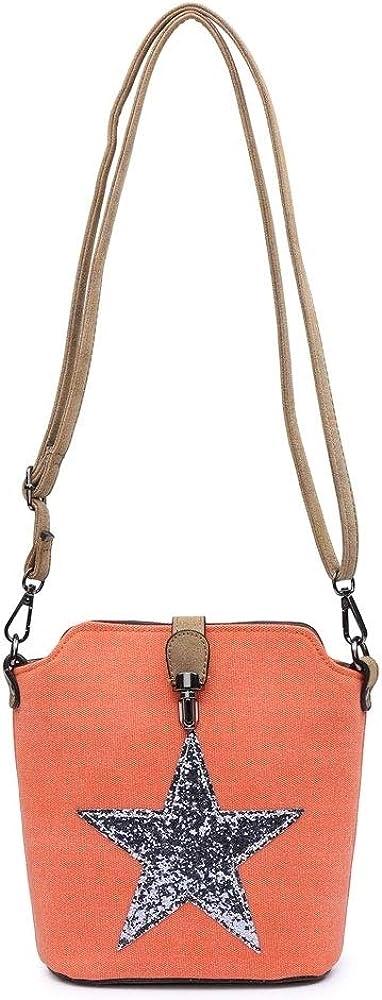 UK New Ladies Glitter Star Faux Leather Shoulder Bag Multi Use Messenger Handbag