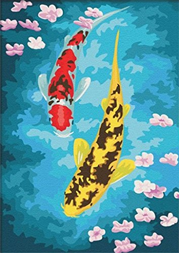 Colour Talk Diy oil painting, paint by number kit- Wealth fish 1620 inch.