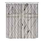 LB Rustic Barn Door Grey White Painted Barn Wood Decor Shower Curtain for Bathroom, Western Country Theme Decor, Mildew Resistant Waterproof Fabric Curtain, 70 x 70 Inch