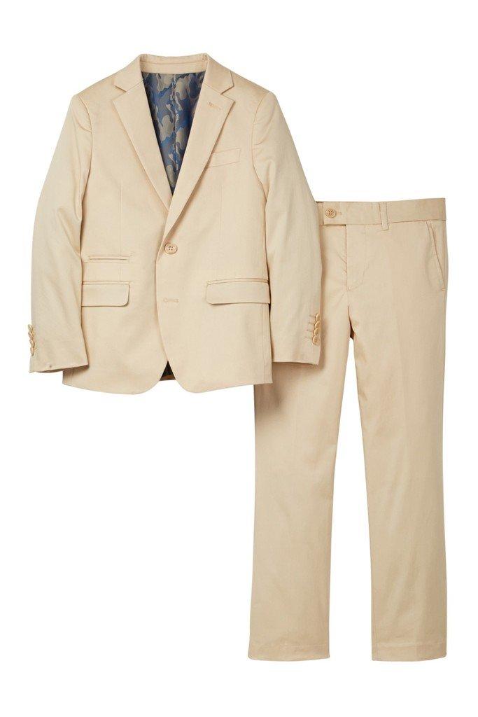 Isaac Mizrahi Boy's ST2078 Stretch Cotton Suit - Tan - 20