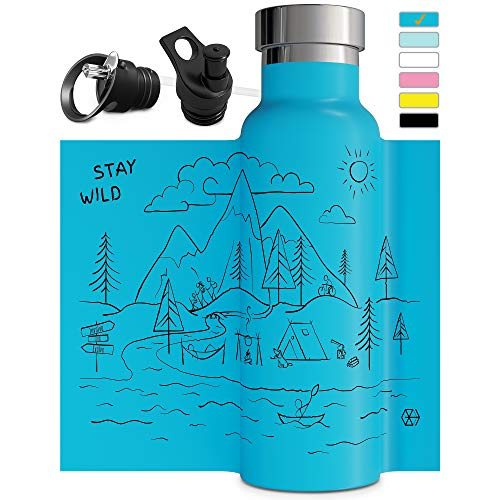 Water Aluminum (Blue Insulated Water Bottle with Straw Sports Cap Double Walled Vacuum Insulated Stainless Steel Eco Friendly Sweat Proof Durable Powder Coated Finish 20 oz BPA Free Thermos Gift Travel)