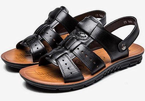 Vocni Mens Open Toe Casual Comfort In Pelle Scarpe Sandali Uomo Sandali Da Uomo Open Toe Sandali Plus Size Nero