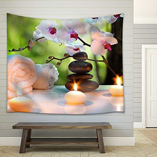 Massage Composition Spa with Candles Orchids Stones in Garden Fabric Wall
