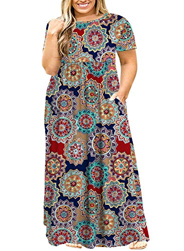 ❥ POSESHE Women's Plus Size Tunic Swing T-Shirt Dress Long Sleeve Maxi Dress with Pockets (4X, Redprint) Plus Size Dresses 4
