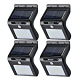 Image of Solar Lights, 16 LED Outdoor Solar Powerd, Wireless Waterproof Security Motion Sensor Light for Porch, Patio, Deck, Yard, Garden, Driveway, Outside Wall (Black, 4 PACK)