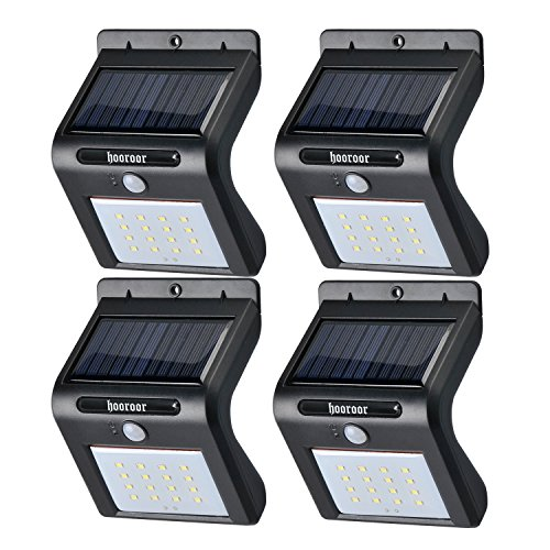 Solar Lights, 16 LED Outdoor Solar Powerd, Wireless Waterproof Security Motion Sensor Light for Porch, Patio, Deck, Yard, Garden, Driveway, Outside Wall (Black, 4 PACK)