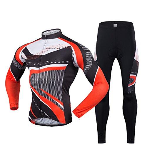 Gwell Maillot de Cyclisme Homme Manches Longues Noir Rouge + Pantalon Noir Pour Printemps