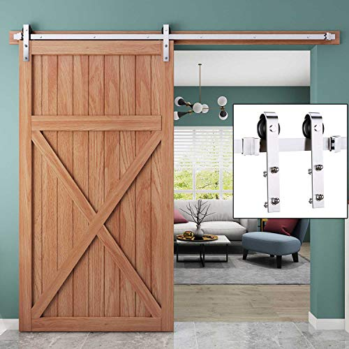 EaseLife 8 FT Modern Stainless Steel Sliding Barn Door Hardware Track Kit | Anti-Rust Anti-Corrosion | Slide Smooth Quiet | Easy Install | Fit up to 48