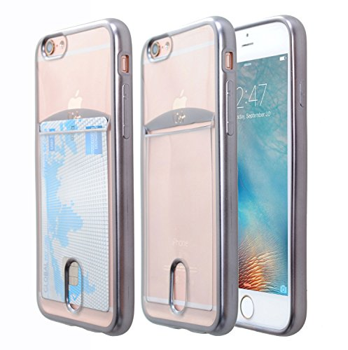 iPhone 6S Plus Case, Case Art Plus Slim & Strong Clear Plating TPU Gel Shockproof Case Cover for iPhone 6S Plus with Card Holder