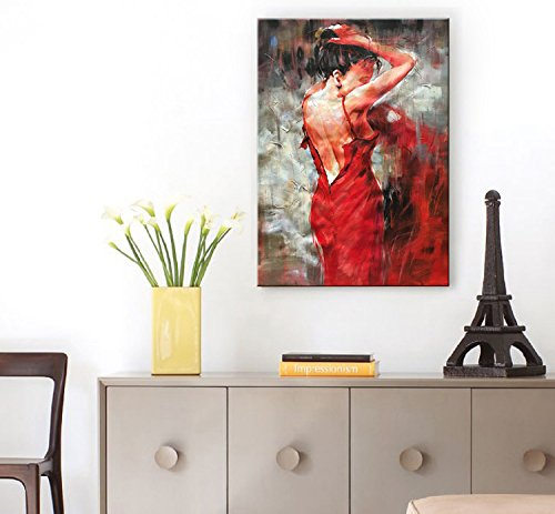 Seekland Art Hand painted Large Red Sexy Girl Abstract Canvas Wall Art Impression Figure Oil Painting Modern Contemporary Artwork Fine Pictures Unframed (3648 inch, EFH-B101103)