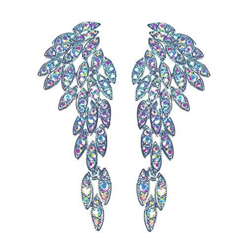 LARGE Angel Wings Eagle Wings Rhinestone Studded Statement Earrings Gold Black Dangling Earrings Wedding Bridal Prom Chandelier Long Drop Earrings for Women (Aurora Borealis)
