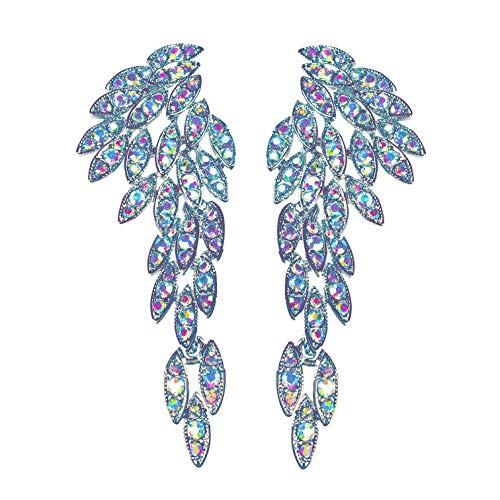 LARGE Angel Wings Eagle Wings Rhinestone Studded Statement Earrings Gold Black Dangling Earrings Wedding Bridal Prom Chandelier Long Drop Earrings for Women (Aurora Borealis Without Card/Envelope) ()