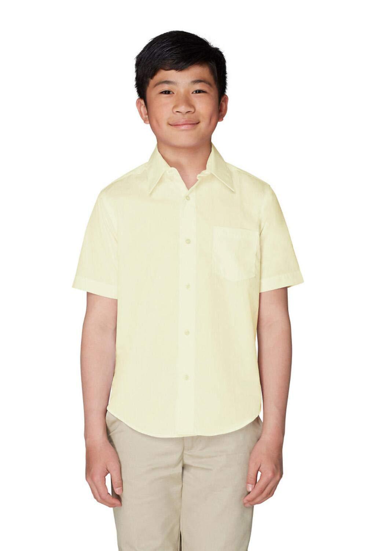 French Toast Boys' Short Sleeve Poplin Dress Shirt, Yellow, 20 Husky