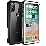 Singdo iPhone X Waterproof Case, 2018 Exclusive Slim Design Case for iPhone X Built in Screen Protector Shockproof Snowproof IP68 Underwater Waterproof Case for iPhone X (Black/White)