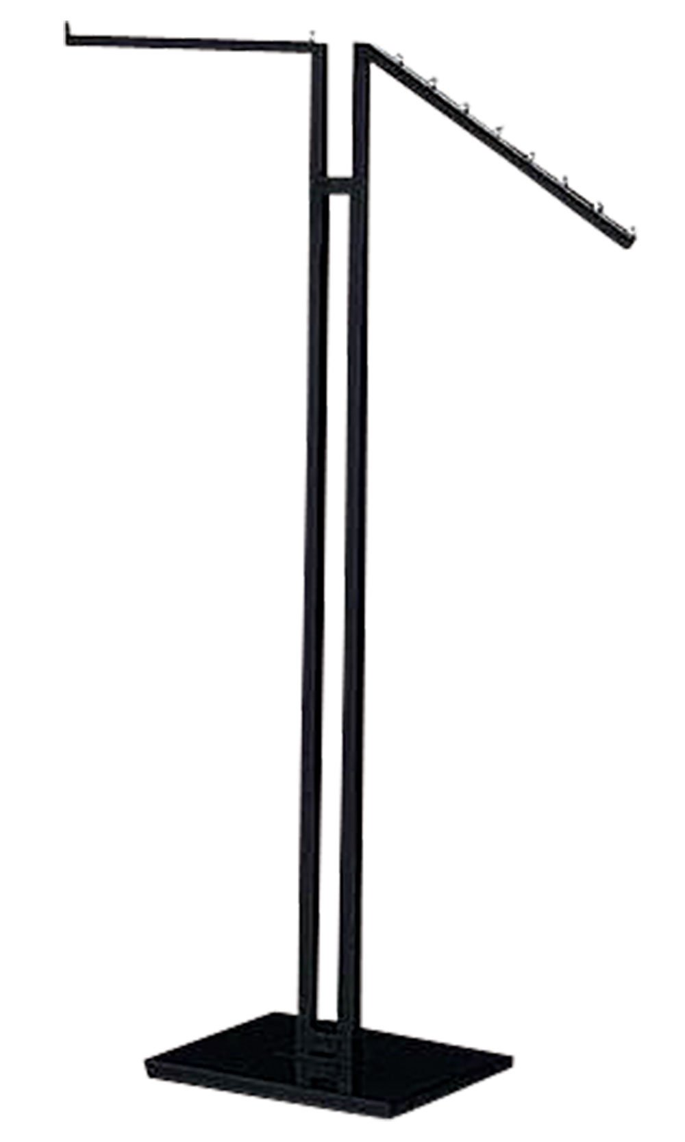 Clothing Rack - Black 2-Way - Straight & Slanted Arms with Black Matte and Chrome Accents