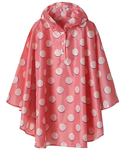 SaphiRose Kids Lightweight Jacket Waterproof Outwear Raincoat,Pink Polka Dot,XXL