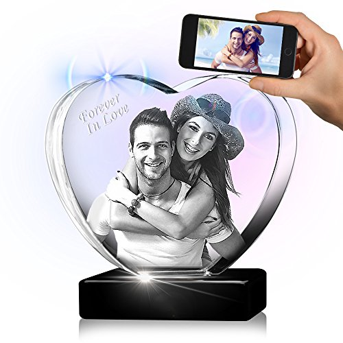 Large Heart 3D Crystal with a Free LED Base That Illuminates The Crystal, Personalize with Your own Custom Engraving