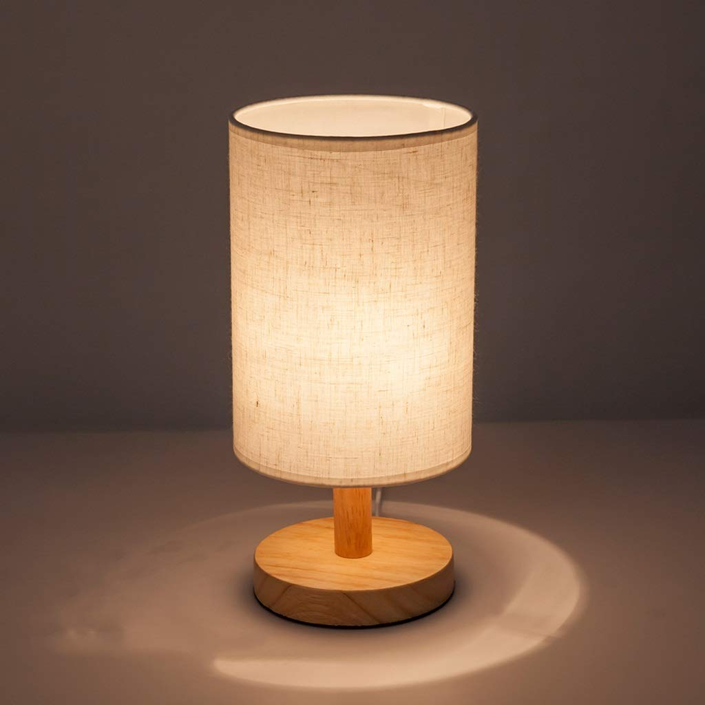 Simple Solid Wood Table Lamp Warm Creative Mini Bedroom Bedside Table Dimming Plug-in Night Light Reading High Brightness is Not Glare