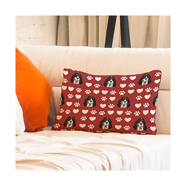 Style In Print Personalized Pillow Case Ariegeois Dog Red Paw Heart Polyester Pillow Cover 20INx28IN Design Only Set of 2 7
